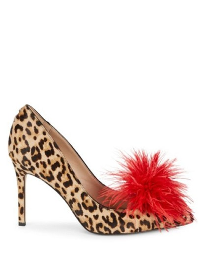 Sam Edelman Red Feather Heels Cheetah Pumps Image 6
