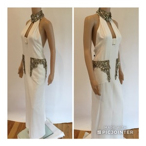 Alexander McQueen Plunging Neckline Embellished Halter New With Tags Stunning Dress