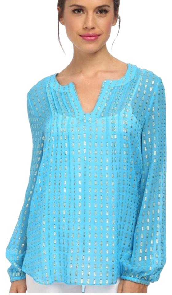 5d611abbcb6 Lilly Pulitzer Blue & Metallic Gold Colby Silk Tunic Size 2 (XS ...