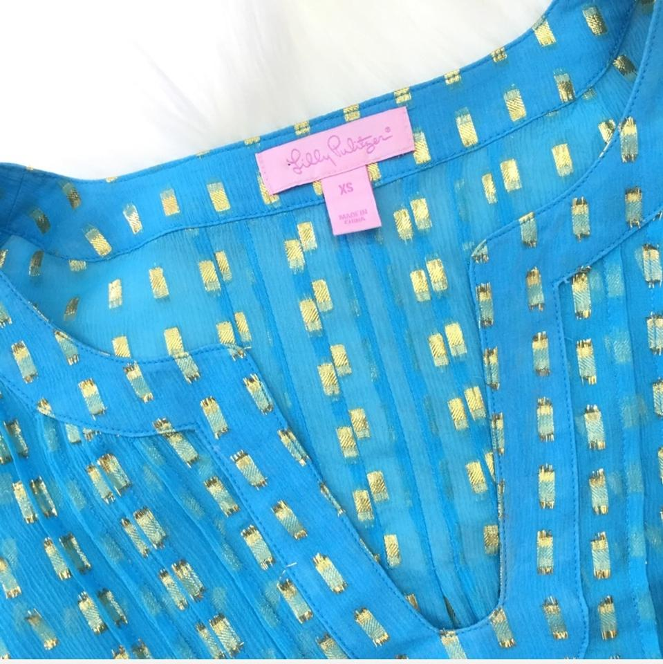 d41fbdc1ab6 Lilly Pulitzer Blue & Metallic Gold Colby Silk Tunic Size 2 (XS) - Tradesy