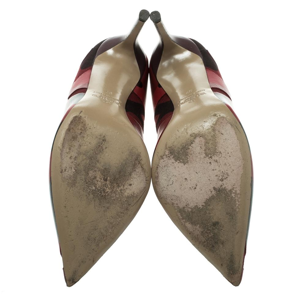 Valentino and Pointed Camouflage Tone Pumps Red Two Leather Canvas rqxtXnra0w