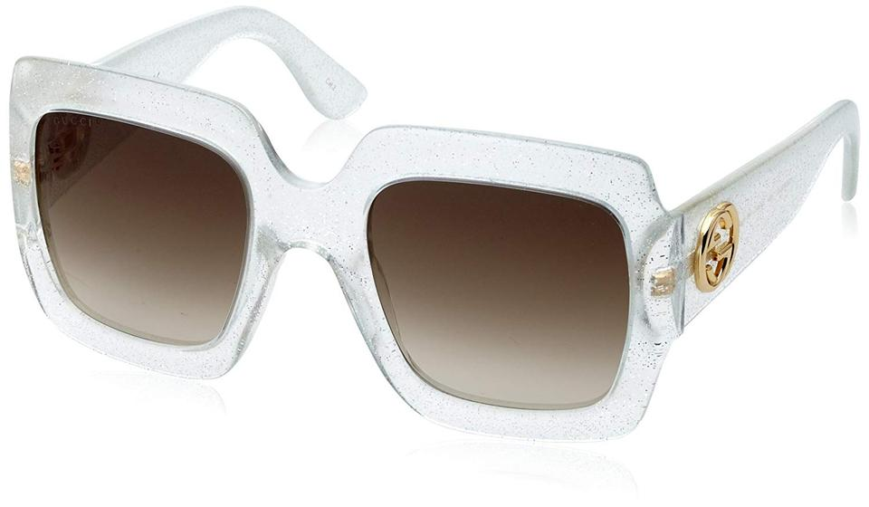 23a15191606 Gucci Clear New 0053 S Silver Glitter Oversized Square Sunglasses - Tradesy