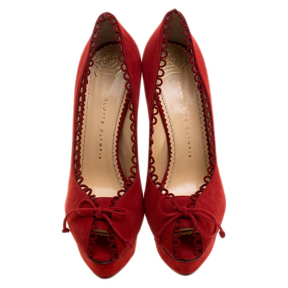 Trim Peep Pumps Suede Scalloped Olympia Red Daphne Platform Charlotte Toe YpHTq