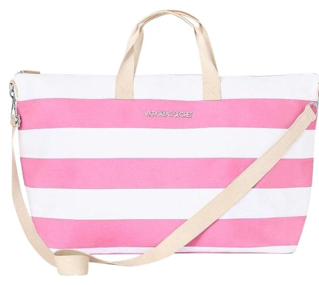 Item - Pink and White Canvas Weekend/Travel Bag