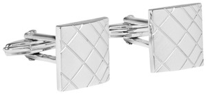 Lanvin Lanvin-Paris Cufflinks Silver-Tone Square Rhodium-Plated