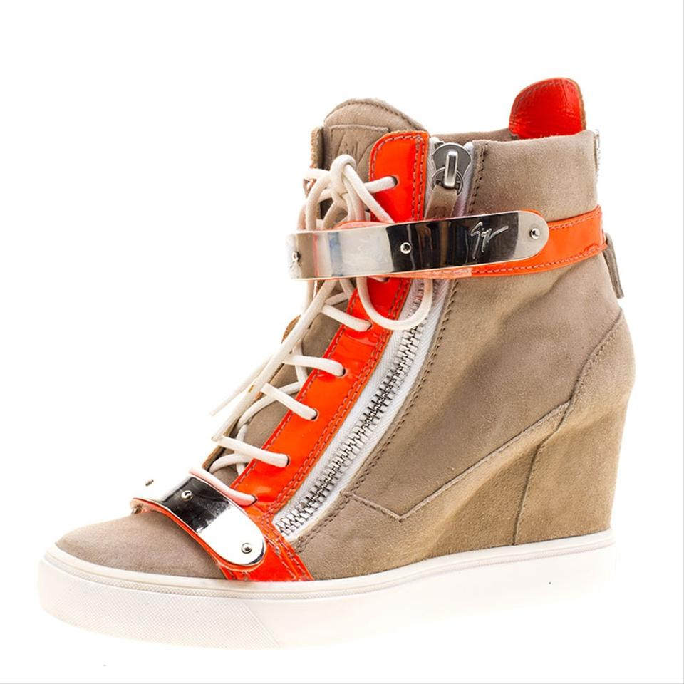 Sneakers Orange Wedge Giuseppe Booties and Boots Leather Patent Zanotti Fluorescent Beige Suede UwBq6n4a