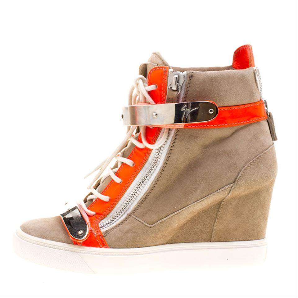 Patent Orange Leather Booties Boots Fluorescent Zanotti and Suede Wedge Sneakers Beige Giuseppe Y1gqtcSY