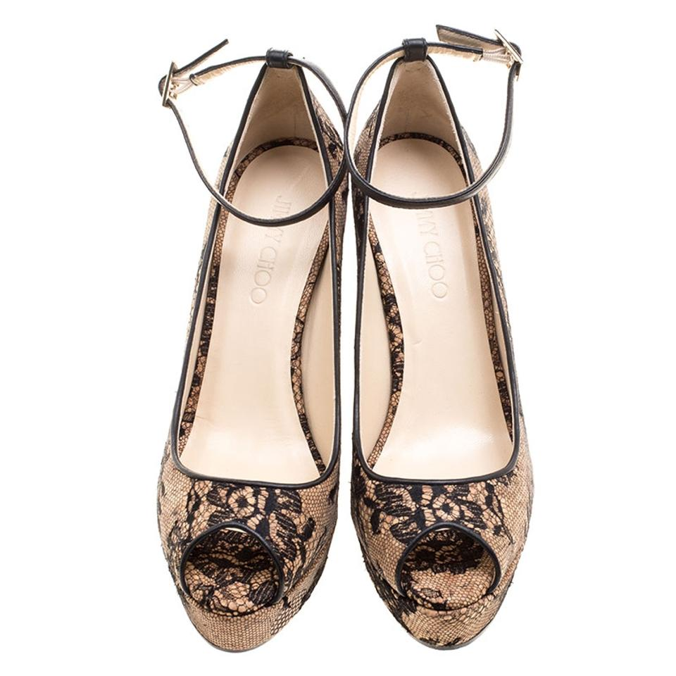 Ankle Toe Jimmy Lace and Pumps Choo Beige Strap Pacific Peep Cork Wedge w8rp08qa6