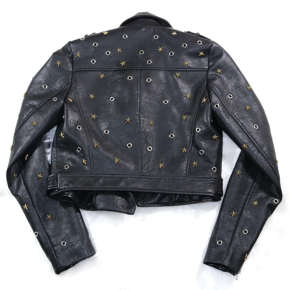 cfd621595c2e16 Zara Black Star Studded Faux Leather Moto Jacket Size 2 (XS) - Tradesy