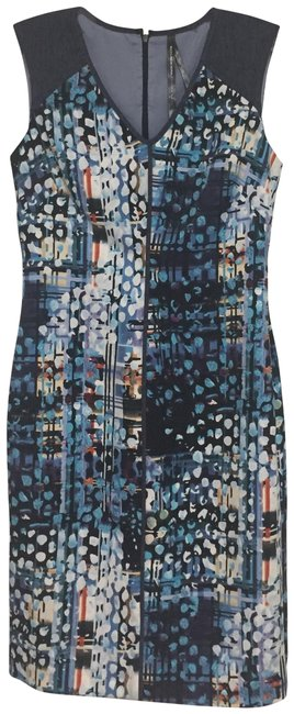 Item - Blue Print Sheath Short Night Out Dress Size Petite 2 (XS)