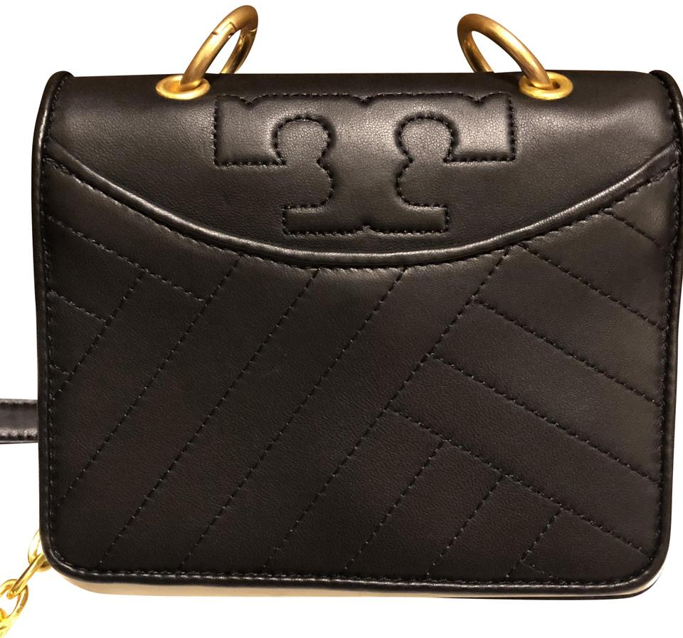 f710200fd297 Tory Burch Alexa Large Logo Purse--alexa Black with Gold Chain and Black  Shoulder Rests. -- New with Tags Leather Cross Body Bag