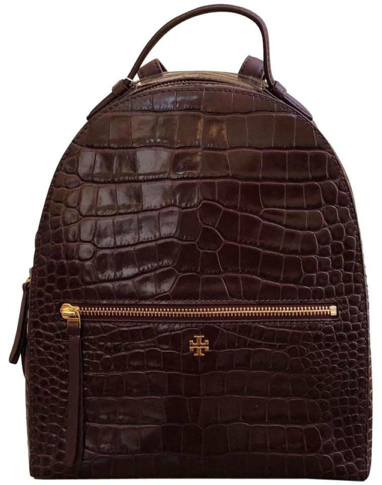 a430d5e61243 Tory Burch Flash-sale Croc-embossed Mini Brown Leather Backpack ...
