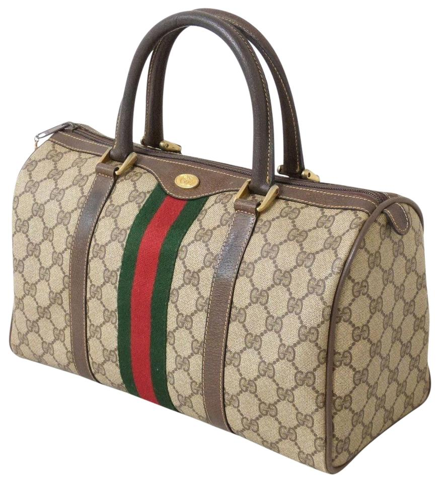2b8155f20f90 Gucci Vintage Small Duffle Carry All Handbag Brown Supreme Web Gg Monogram Canvas  Leather Tote