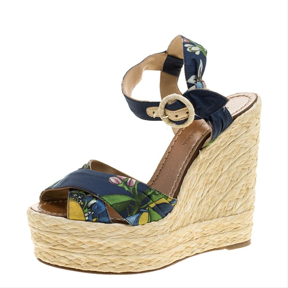 Strap Print Wedges Ankle Cross Dolce Multicolor Raffia Sandals Strap Floral amp;Gabbana Fabric xpFwWYPqtR