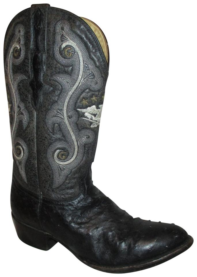 a5807573ff3 Black Gray & White Vintage Ostrich Skin Western Cowboy Boots/Booties Size  US 10 Wide (C, D)