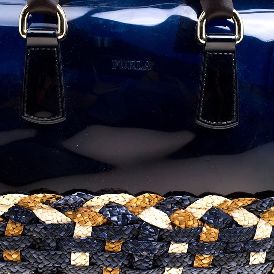 and Glossy Rubber Navy Raffia Satchel Furla Blue Candy dXCqgxwIw