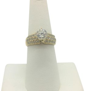 Diamonique 14k Yellow Gold .9ct Cubic Zirconia CZ Engagement Ring Size 7