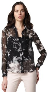 Theory Sheer Floral Photo Print Silk Textured Top