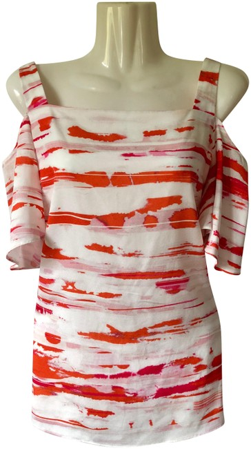 Item - Ivory/Coral Printed Sleeveless Blouse Size 6 (S)