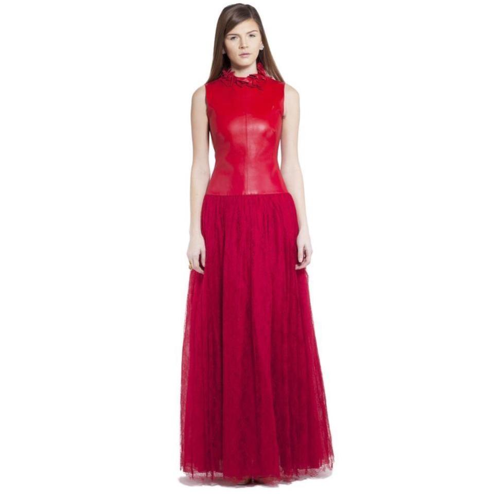 Valentino Red Leather Lace New W Embroidery Gown Formal Wedding