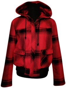 Old Navy Wool Short Fall Red Plaid Jacket