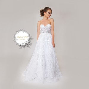 White Italian Lace Swarovski Crystals Gown In 1 Feminine Wedding ...