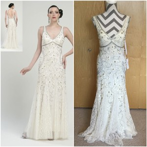 Sue Wong Ivory Nylon Polyester N1118 Antique Embroidered Gown Vintage Wedding Dress Size 6 S