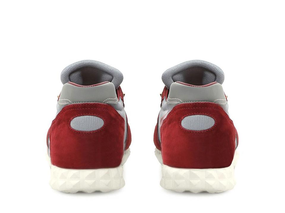 Leather and Valentino Burgundy Sneakers Sneakers Fabric Men's In Suede fwpU4q
