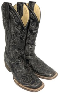 Corral Boots Cowgirl Inlay Leather Python Cowhide Black Boots