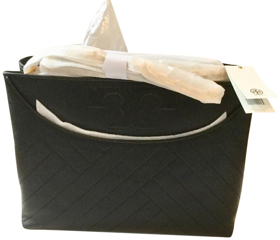 14c67067a1ce Tory Burch Alexa Quilted Slouchy Black Lambskin Leather Tote - Tradesy
