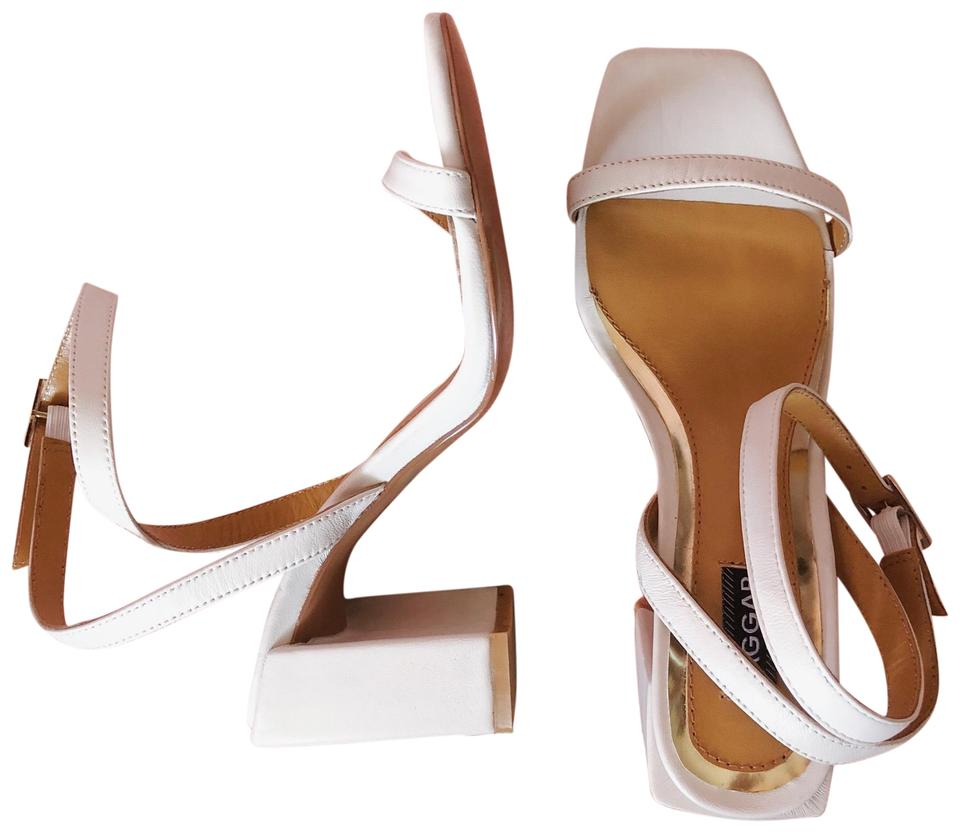 0f63a63e640 White Square Toe Block Heel Sandals Formal Shoes Size EU 37 (Approx ...