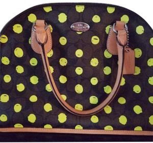 Coach Satchel in Brown canvas with neon yellow.