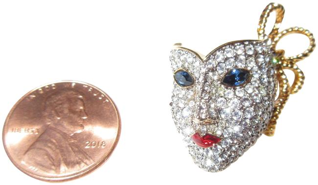 Item - White Blue Red Gold Plated Crystal Mask Pin Mardi Gras La Scala Swan Signed