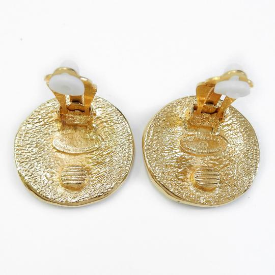 Chanel CHANEL Gold Plated CC Cambon Vintage Round Clip Earrings