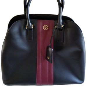 Tory Burch Leather Like New Dome Satchel in Black and chambray