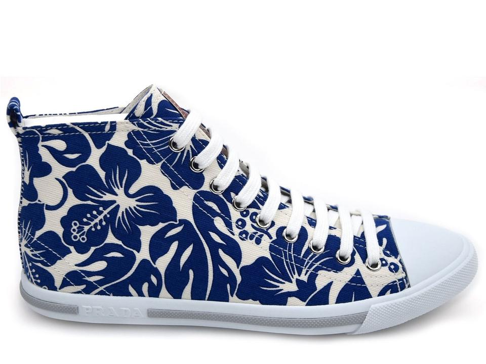 Women's Sneakers White In Canvas Prada Blue Sneakers Top High qdIWXt