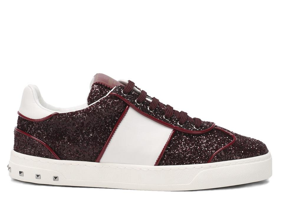 Glitter In Sneakers Women's Valentino Burgundy Sneakers q1IgOwT