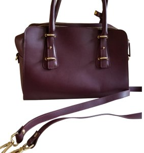 Alberta Di Canio Like New Gold Hardware Multiple Straps Leather Suede Interior Satchel in Burgundy