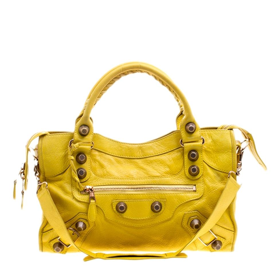 Leather Balenciaga City Classic Tote Gsh Yellow q6IRwA