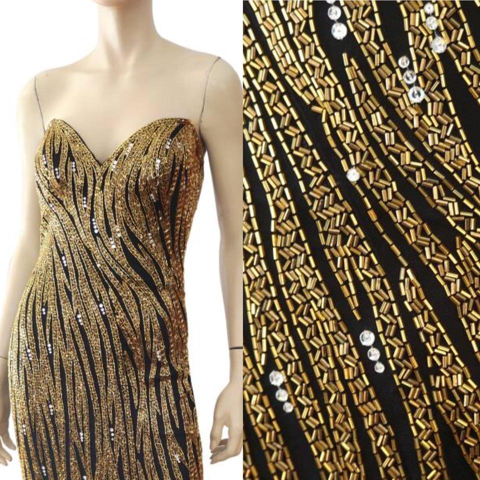 Bob Mackie Gold Heavy Beaded Gown Worn By Miley Cyrus Long Formal ...