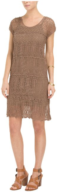 Item - Chocolate-brown -allover Crochet Paisley Cap Sleeve Shift Short Casual Dress Size 6 (S)