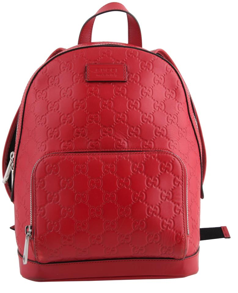 e0f3cd9c51cdf Gucci Signature Hibiscus Red Leather Backpack - Tradesy