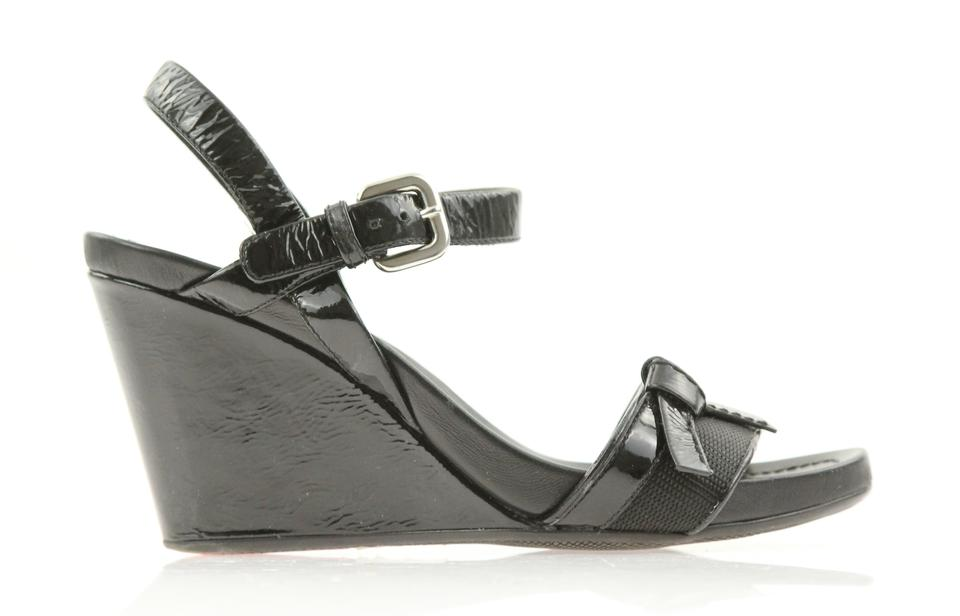efffc396249 Prada Black Sport Two-piece Wedge Sandals Size EU 36 (Approx. US 6 ...