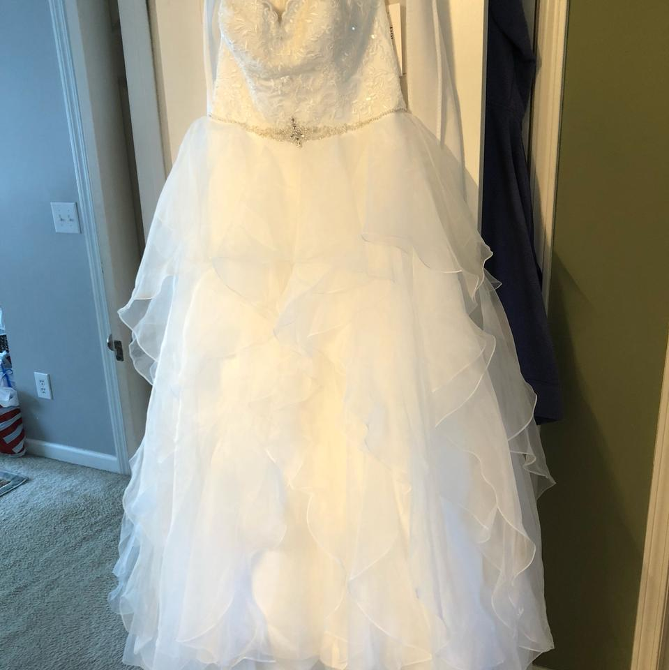 David\'s Bridal Organza Ball Gown Traditional Wedding Dress Size 12 ...