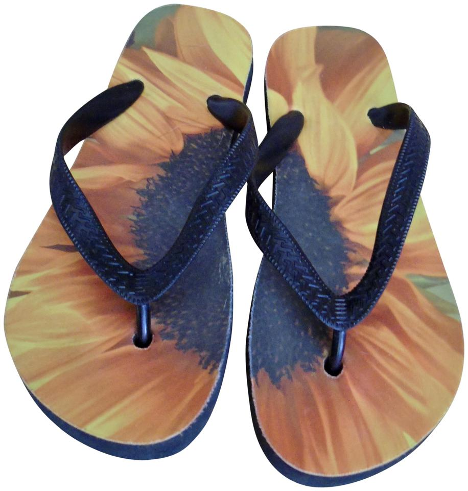 13d1f08f858fa SouthernComfortArt Sunflower Flip Flops Flower Flip Flops Art Flip Flops  Nature Flip Flops Yellow Orange ...