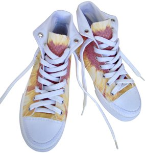 6443f89ea8662 Sandals.  16.00. US 10. On Sale. SouthernComfortArt Sunflower Sneakers Hi  Top Tennis Sunflower Design Artist Designed Ooak Yellow Orange White