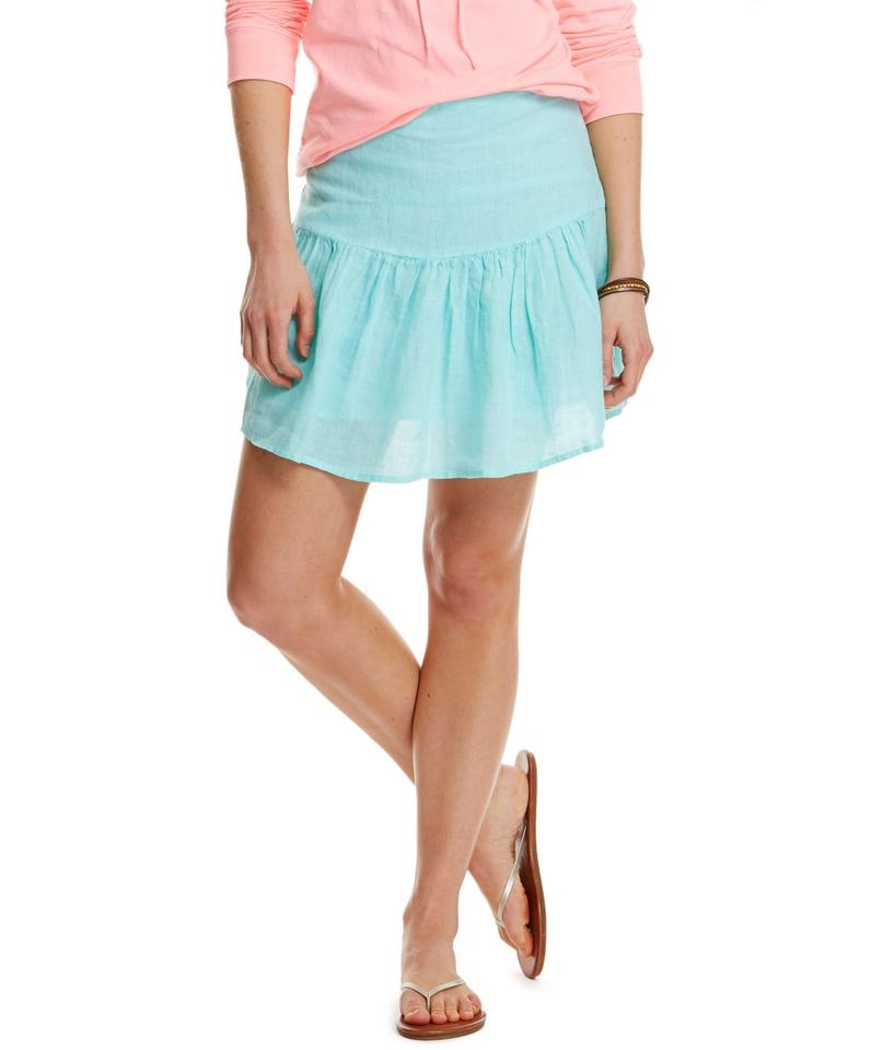 e02bfcacc585 Vineyard Vines Blue Linen Skirt Size 14 (L, 34) - Tradesy