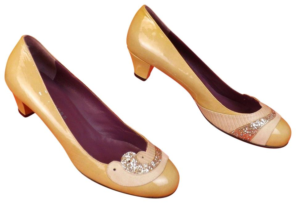 Marc Jacobs Beige Glitter Patent Leather Snake Print Glitter Beige Round Toe Italy Pumps e1d16b