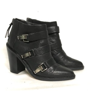 L.A.M.B. Leather Almond Toe Black Boots