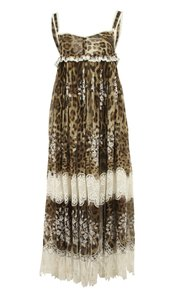 Brown Maxi Dress by Dolce&Gabbana Leopard Print Midi